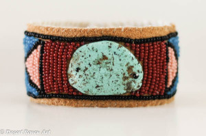 Artwork,beadwork,jewelry,leather cuff