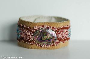 Artwork, beadwork, leather cuff,jewelry