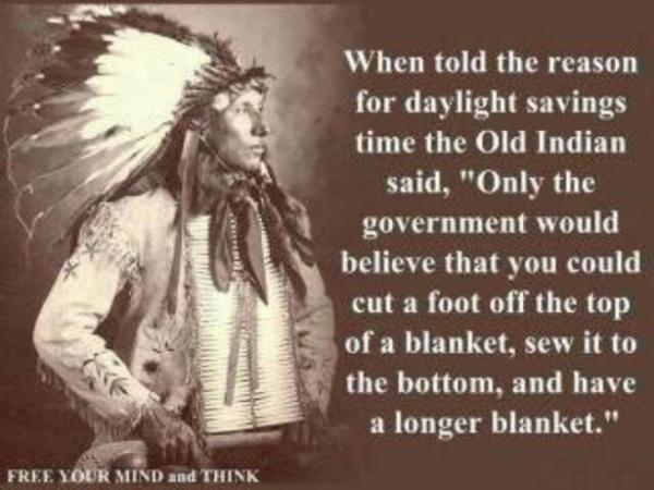 NAtive American view of day light saving