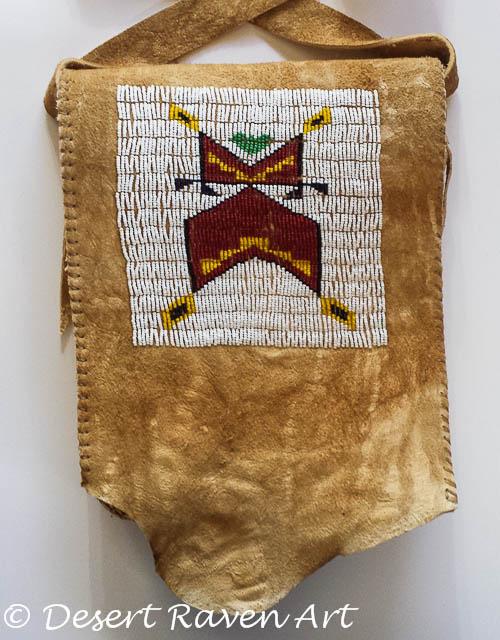 artsy fartsy tuesday. beadwork bag, brain tan leather