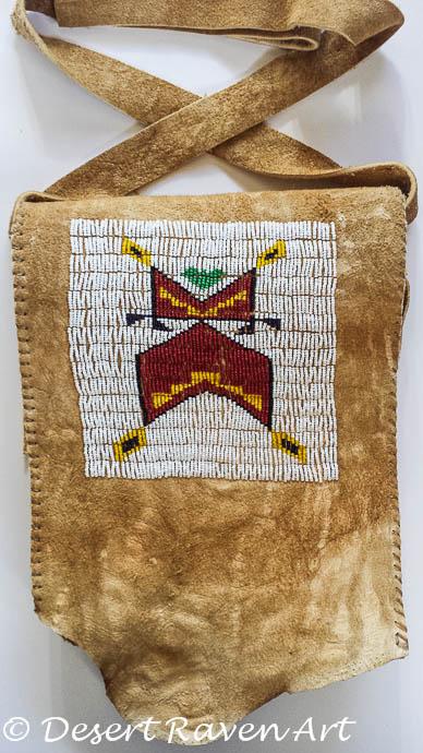 artsy fartsy tuesday,beadwork bag, brain tan leather
