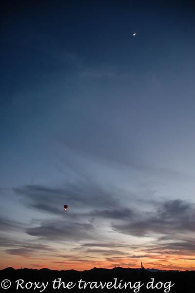 Sunset, balloon, moon, desert