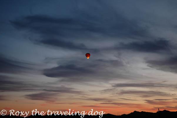 sunset, balloon, desert