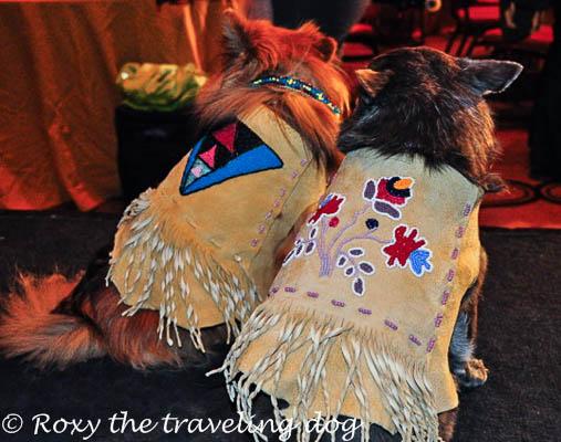 Roxy and Sophia Loren posing in their custom beaded leather jackets.