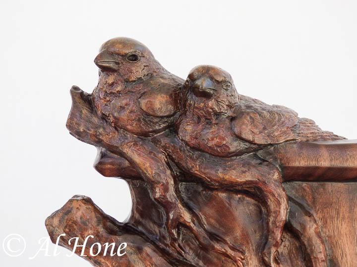 Finches wood sculpture