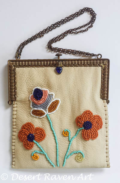 Beadwork purse on vintage frame