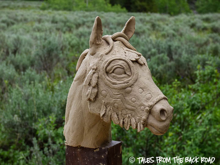 A small horse mask sculpture