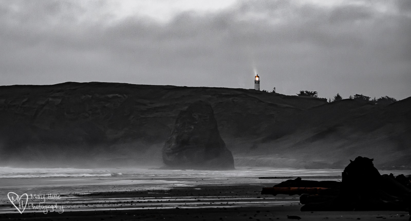 What to do with a flat gray photo. Cape Blanco lighthouse
