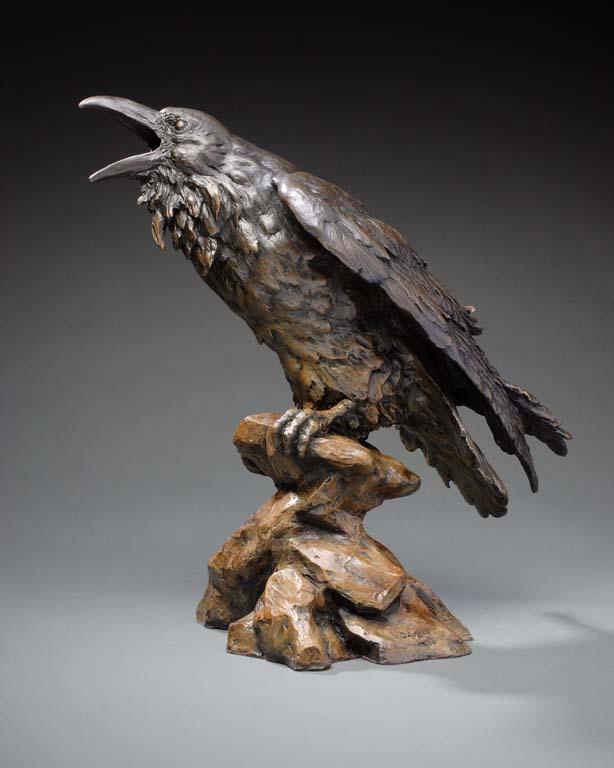 Raven sculpture. The Storyteller