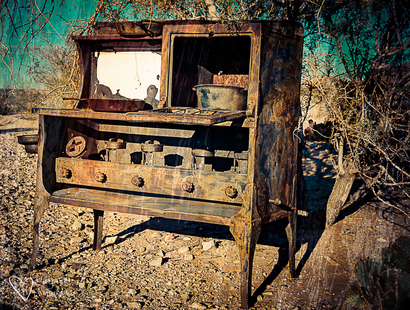 Old cook stove in the desert