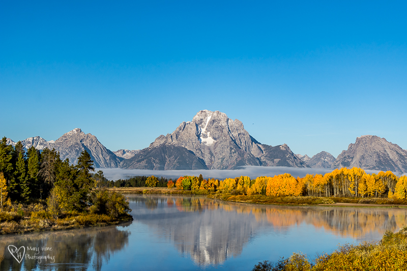 Mount Moran in the fall. Oxbow bend.