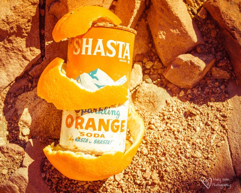 vintage orange shasta can with orange peel