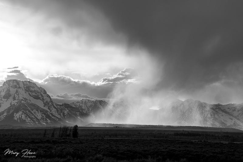 scattered rain over the tetons