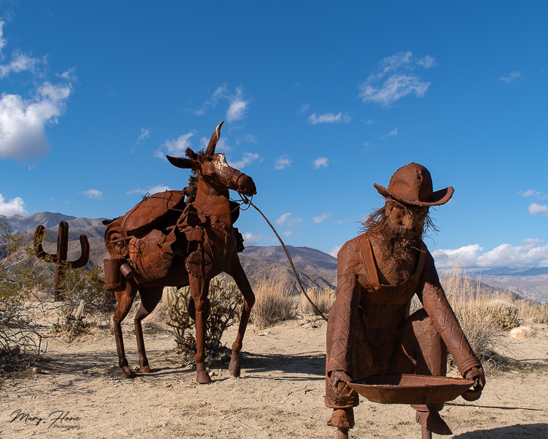 Borrego Springs Sculptures in the Desert, miner and burro